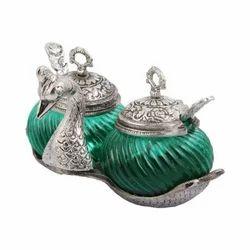 Green, Silver Glass Decorative Platter