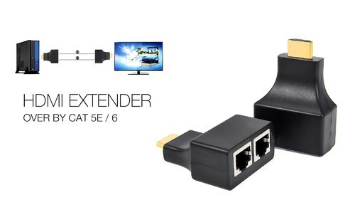 Hdmi (100 Ft 30m) Dual Rj45 Cat5e Cat6 Lan Ethernet Cable Hdmi Extender  Repeater(1080p) For Ps3 Hddv