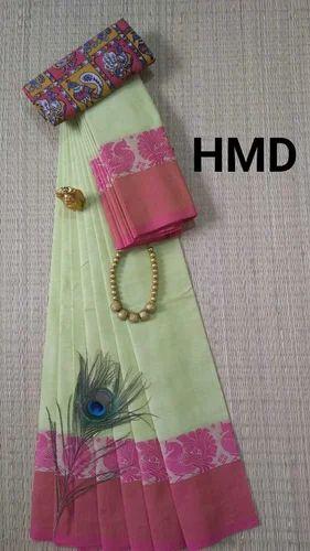 4b3a6a205e9c9 Cotton Formal Wear Chettinad Saree With Kalamkari Blouse ...
