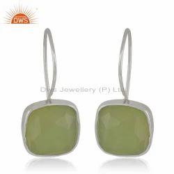 Manufacture Sterling Silver Prehnite Chalcedony Gemstone Earrings Jewelry