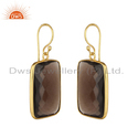 Gold Plated Silver Natural Smoky Quartz Gemstone Drop Earrings For Women