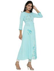 Yash Gallery Women's Rayon Tie and Dye Print Applique Work A-line Kurta
