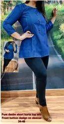 PARINEETI Blue Stylish Denim top For Ladies