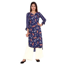White and Blue Printed Crepe Kurti