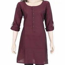 Round Neck Casual Wear Ladies Plain Cotton Kurtis, Size: S-XXL, Machine wash