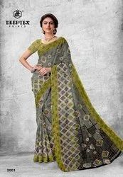 Block Prints Printed Pure Cotton Voile Sarees, With blouse piece, 6.3 meter