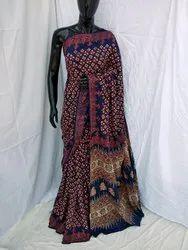 Hand Block Ajrakh Printed Cotton Saree