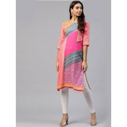 A-Line Ladies Fancy Printed Rayon Kurti, Size: S-XXL