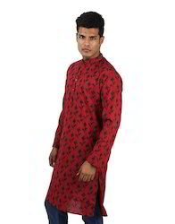 Cotton Red Floral Printed Full Sleeve Knee Length Men's Kurta