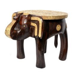 Brass Fitted Wooden Elephant Stool