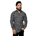 Cotton Black And White Checkered Casual Shirt