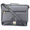 Plain Solid Genuine Leather Black Laptop Briefcase Lpbl004