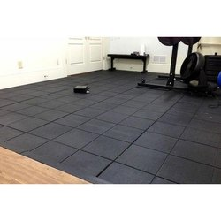 Black Recycled Rubber Gym Floor Tiles Thickness 15 20 Mm