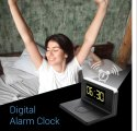 Portronics Freedom 4 Desktop Bedside Wireless Charger with Digital Alarm Clock and LED Lamp (Black)
