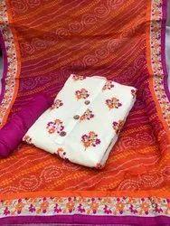 Cotton Chanderi Model Dress Material for Women