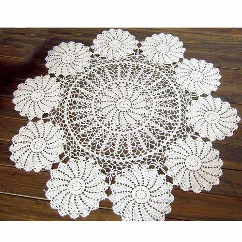 White Fancy Crochet Tablecloth, Kalpvriksh Fashion Centre   ID