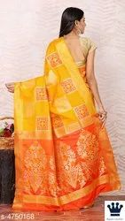 Yellow Ethnic Sarees, 5.5 m (separate blouse piece)