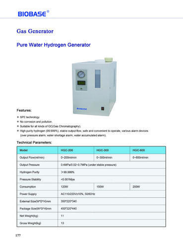 Biobase Automatic Hydrogen Generator Conventional, Capacity