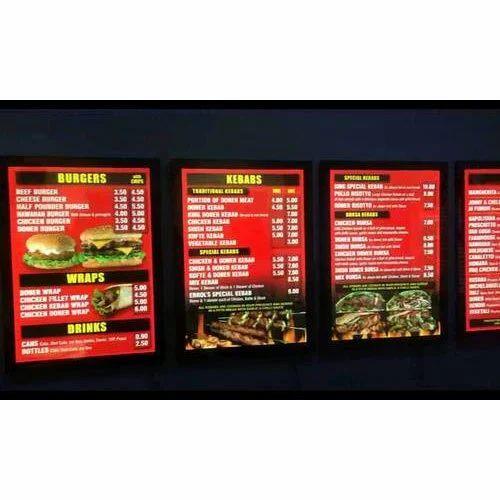 Restaurant LED Menu Board at Rs 350 /square feet | मेन्यू ...