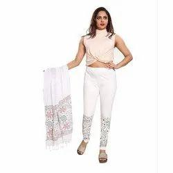 Printed White Cotton Leggings with Dupatta, Size: S-XXL