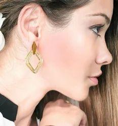 Women Handmade Gold Plated Stud Design Earrings