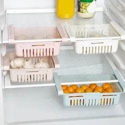 High-Quality Virgin Plastic Adjustable Refrigerator Organizer Rack Tray - Multicolor & Expandable, Size: 20x7 Cm