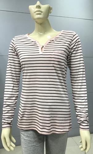 Ladies Striped Full Sleeve T Shirts