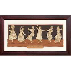Wood Indian Classical Dancers Painting, Size: 7 X 12