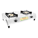 Silver 2 Burner Super Gas Stove For Kitchen