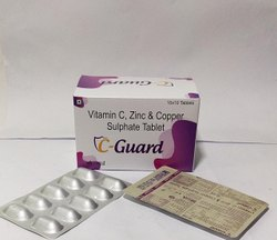 Vitamin C, Zinc & Copper Sulphate Tablet, Packaging Size: 10*10