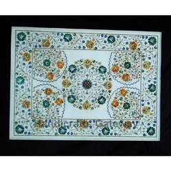 Beautiful White Marble Inlaid Table Tops
