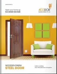 Wooden Finish Metal ACODOR Home Pravesh Doors