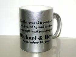 Metallic Silver Ceramic Sublimation Mug