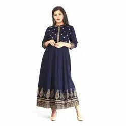Casual Wear 3/4th Sleeve Ladies Anarkali Cotton Kurti, Size: S-xxl, Handwash