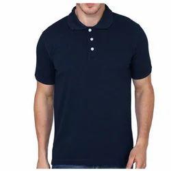 Navy Blue Plain Collar T-Shirt