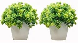 DecoratingLives Set of 2 Mini Cute Artificial Plants Bonsai Potted Shrubs for Home Office Decor