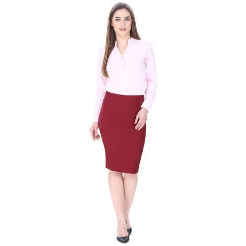 82542ec632 Ladies Red Office Wear Pencil Skirts