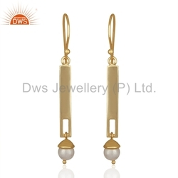 Pearl Beads Gemstone Earrings Gold Plated Silver