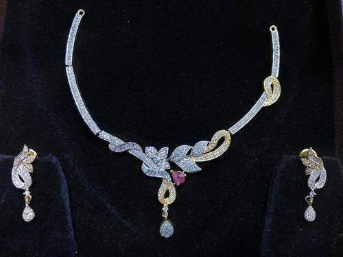Gold American Diamond Necklace Set With Earrings Rs 450 Set Id 19745089673