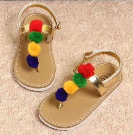 1fdb2fabcad Multi Color Pom Pom Sandals Gold