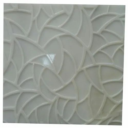 White Floral 3D Marble Wall Mural