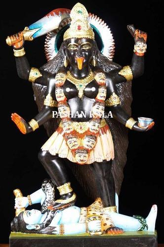 Marble God Statues and Wooden Temples - Black Marble Kali