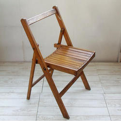 1 Seater Brown Wooden Folding Chair
