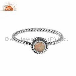 Ethiopian Opal Gemstone Designer Twisted 925 Sterling Silver Rings