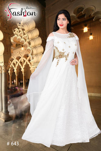 8764adc64f Western Indian Fashion White Ladies Gown, Free Size, Rs 2995 /piece ...