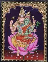 Shivan Parvati Tanjore Painting
