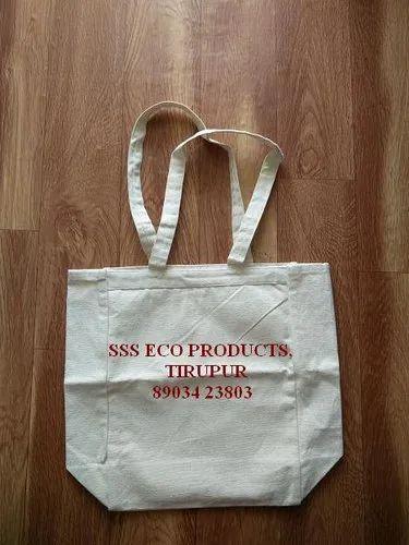Regular Handled Plain Canvas Cloth Bag, Model Number: SSS99