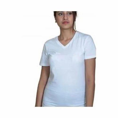 Ladies V Neck Plain T Shirt