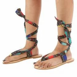 Round Leather Rose Multi Color Tie Up Flats Sandals, Size: 35-41