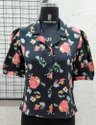 Ladies Flower Printed Collared Shirt